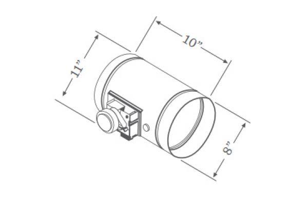 """Large image of Zephyr 8"""" Universal Make-Up Air Damper Kit  - MUA008A"""