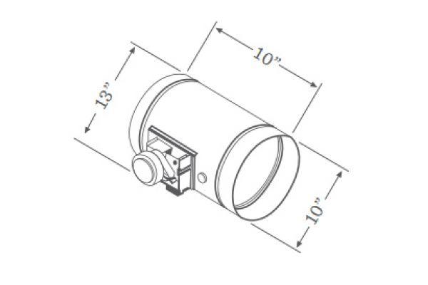 """Large image of Zephyr 10"""" Universal Make-Up Air Damper  - MUA010A"""