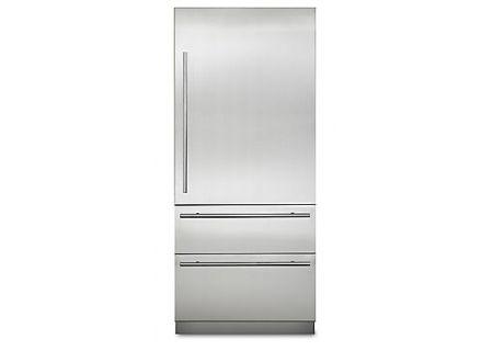 "Viking 36"" Virtuoso 6 Series Stainless Steel Fully Integrated Bottom Freezer Refrigerator - MVBI7360WRSS"