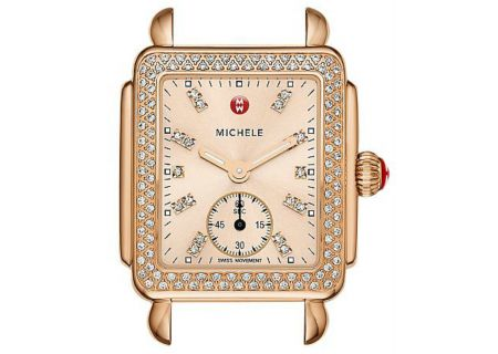 Michele Deco 16 Rose Gold Beige Diamond Dial Womens Watch Head - MW06V01B4971