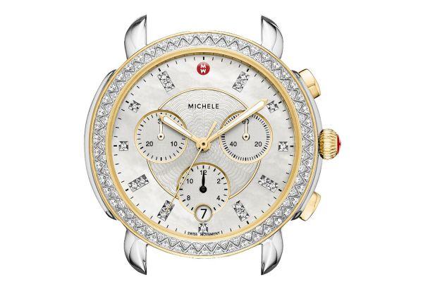 Michele Sidney Two-Tone Diamond Dial Womens Watch Head - MW30A01C5046