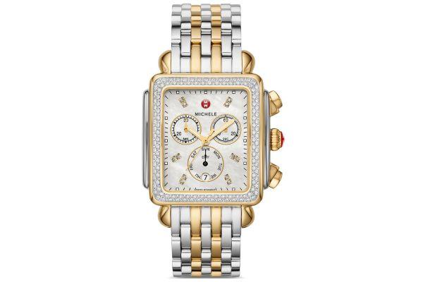 Michele Deco XL Two-Tone Diamond Dial Womens Watch - MWW06Z000034