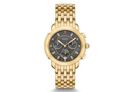 Michele Sidney Gold Diamond Dial Womens Watch - MWW30A000029