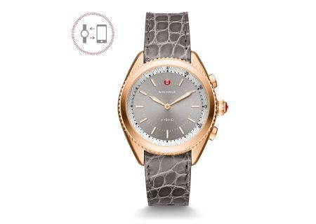 Michele Rose Gold-Plated Grey Dial Grey Alligator And Blush Silicone Hybrid Smartwatch - MWWT32A00005