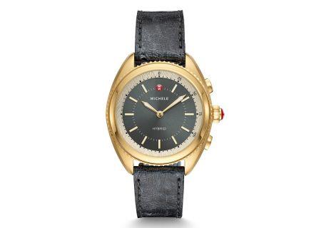 Michele Gold-Plated Shadow Grey Dial and Shadow Grey Ostrich Hybrid Smartwatch - MWWT32A00013