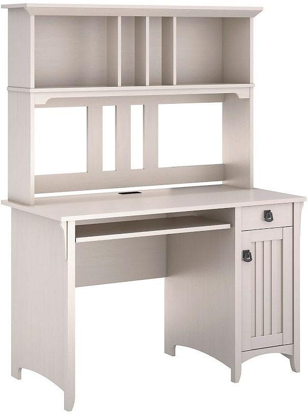 Bush Furniture Sallinas Antique White Mission Desk & Hutch - MY72208-03 - Bush Furniture Sallinas Mission Desk & Hutch - MY72208-03