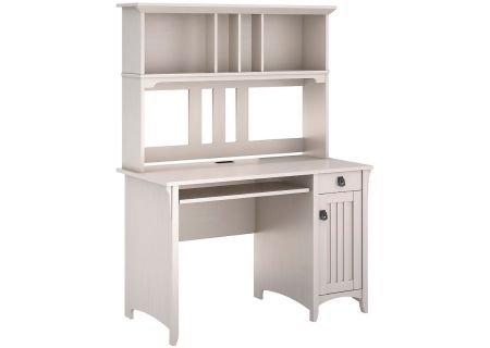 Bush Furniture Sallinas Antique White Mission Desk & Hutch - MY72208-03