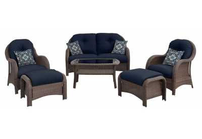 Hanover - NEWPORT6PC-NVY - Patio Seating Sets