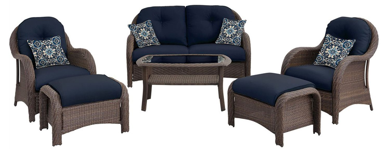 Wondrous Hanover Newport Navy Blue 6 Piece Outdoor Seating Patio Set Pabps2019 Chair Design Images Pabps2019Com