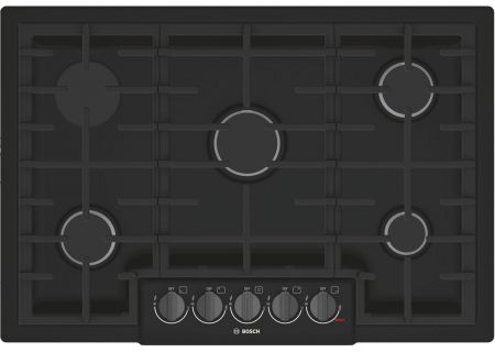 """Bosch 800 Series 30"""" Black with Black Stainless Knobs 5 Burner Gas Cooktop - NGM8046UC"""