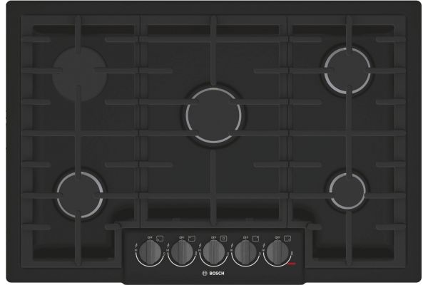 "Bosch 800 Series 30"" Black with Black Stainless Knobs 5 Burner Gas Cooktop - NGM8046UC"