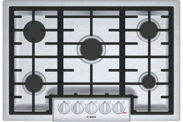 """Large image of Bosch 800 Series 30"""" Stainless Steel 5 Burner Gas Cooktop - NGM8056UC"""