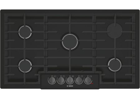 "Bosch 800 Series 36"" Black With Black Stainless Knobs 5 Burner Gas Cooktop - NGM8646UC"