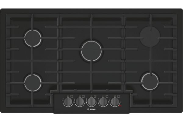 "Large image of Bosch 800 Series 36"" Black With Black Stainless Knobs 5 Burner Gas Cooktop - NGM8646UC"