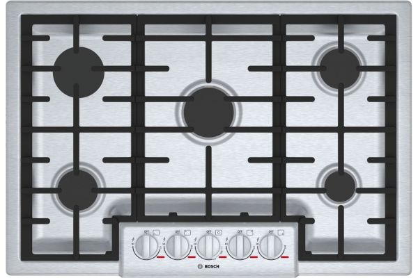 """Large image of Bosch Benchmark Series 30"""" Stainless Steel 5 Burner Gas Cooktop - NGMP056UC"""