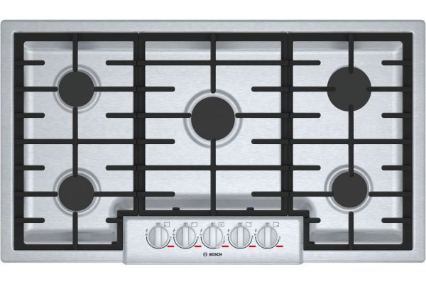 "Large image of Bosch Benchmark Series 36"" Stainless Steel 5 Burner Gas Cooktop - NGMP656UC"