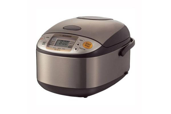 Large image of Zojirushi Micom Stainless Brown 5.5-Cup Rice Cooker And Warmer - NSTSC10