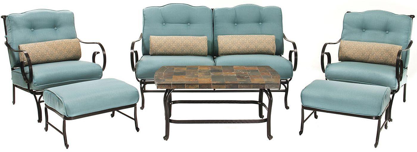 Hanover oceana 6pc outdoor seating patio set oceana6pc for Outdoor furniture big w