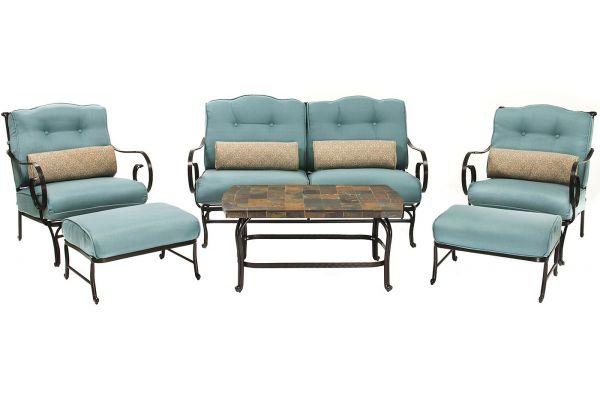 Hanover Ocean Blue Oceana 6-Piece Outdoor Seating Patio Set - OCEANA6PC