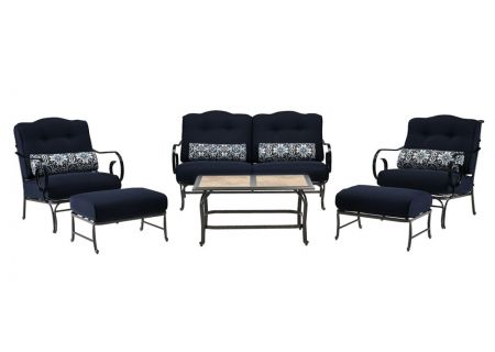 Hanover Oceana Navy Blue 6-Piece Outdoor Seating Patio Set with Tile-Top Table - OCEANA6PC-TL-NVY