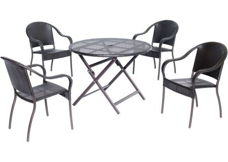 Hanover Orleans 5-Piece Outdoor Round Patio Dining Set - ORLDN5PC-BRN