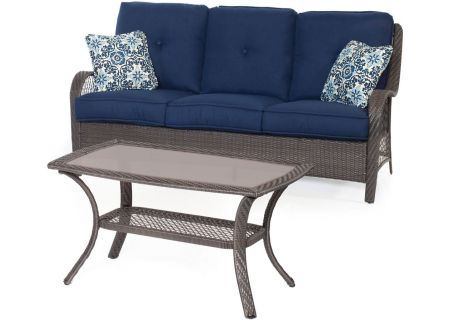 Hanover Orleans 2-Piece Outdoor Seating Patio Set - ORLEANS2PC-G-NVY