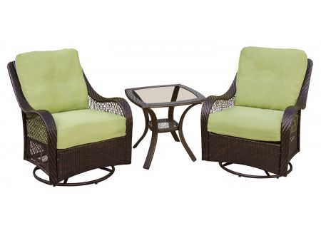Hanover Avocado Green Orleans 3-Piece Outdoor Seating Patio Set  - ORLEANS3PCSW