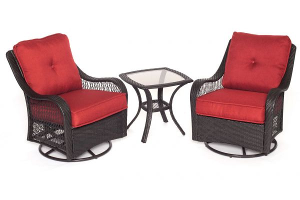 Hanover Orleans Autumn Berry & French Roast 3-Piece  Outdoor Seating Patio Set  - ORLEANS3PCSW-B-BRY