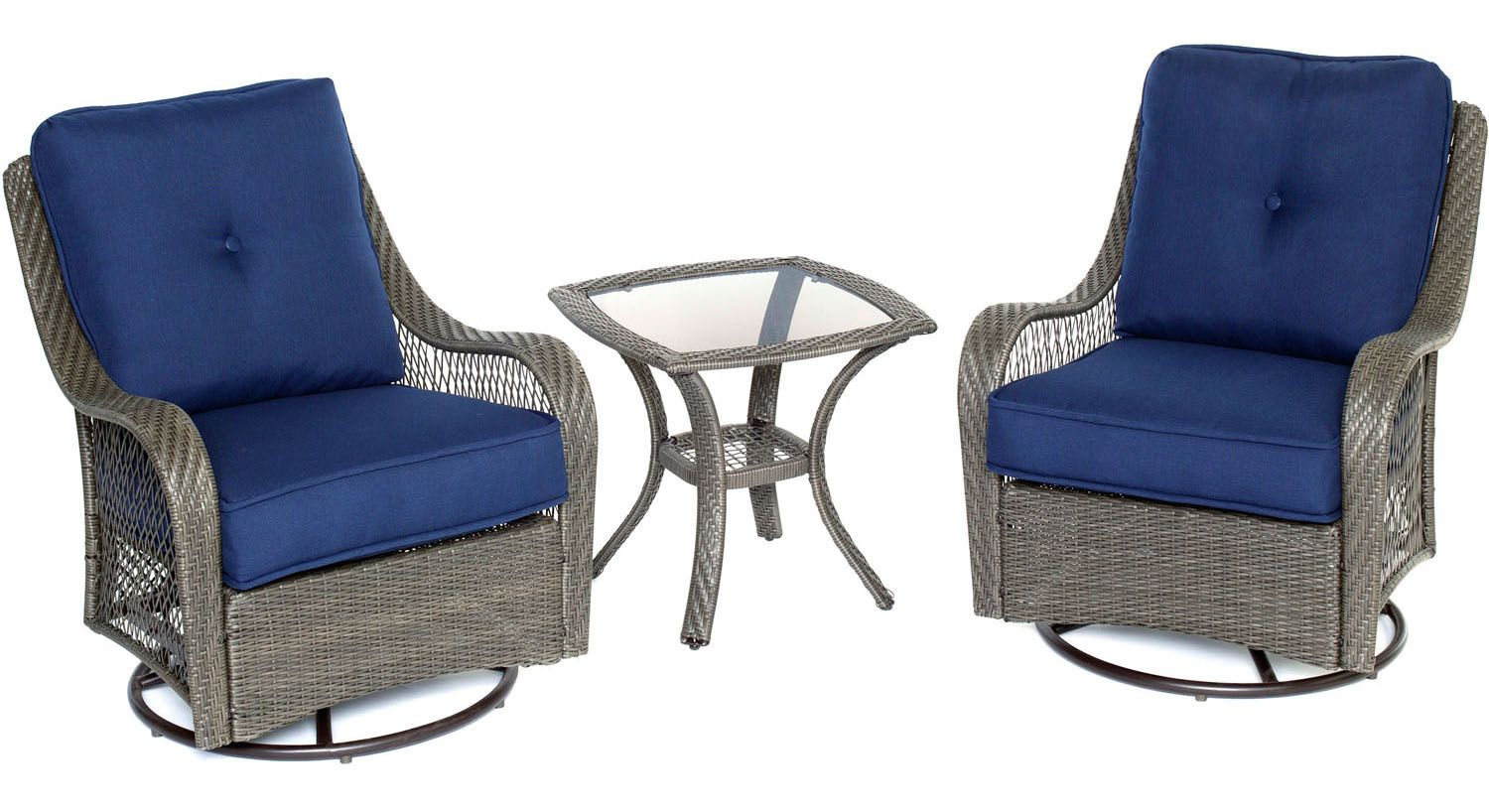 Hanover orleans 3 piece patio set orleans3pcsw g nvy for Outdoor furniture big w