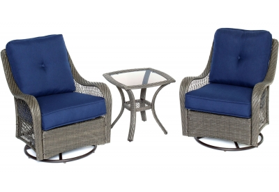 Hanover - ORLEANS3PCSW-G-NVY - Patio Seating Sets