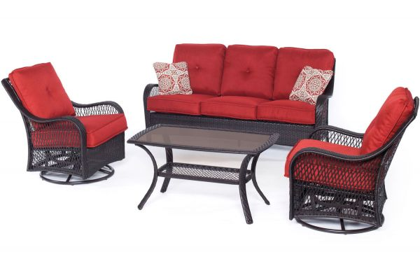 Large image of Hanover Orleans Autumn Berry & French Roast 4-Piece Outdoor Seating Patio Set - ORLEANS4PCSW-B-BRY