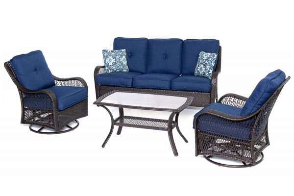 Large image of Hanover Orleans Navy Blue & French Roast 4-Piece Outdoor Seating Patio Set - ORLEANS4PCSW-B-NVY