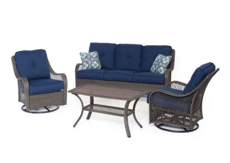 Hanover - ORLEANS4PCSW-G-NVY - Patio Seating Sets