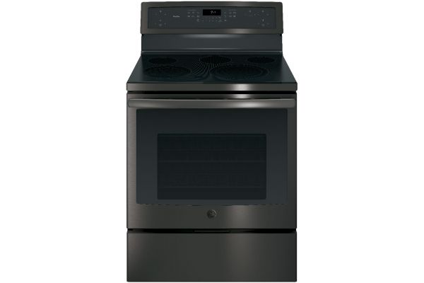 """Large image of GE Profile 30"""" Black Stainless Steel Electric Convection Range - PB911BJTS"""