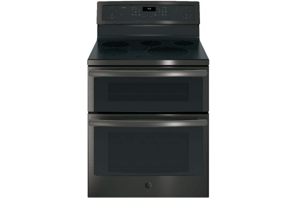"""GE Profile 30"""" Black Stainless Steel Double Oven Electric Convection Range - PB960BJTS"""