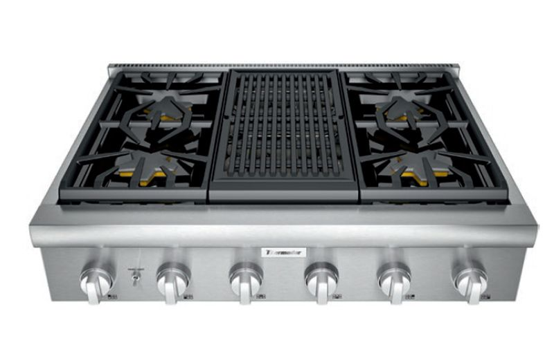 Thermador 36 Professional Series Stainless Steel Gas Rangetop With Grill