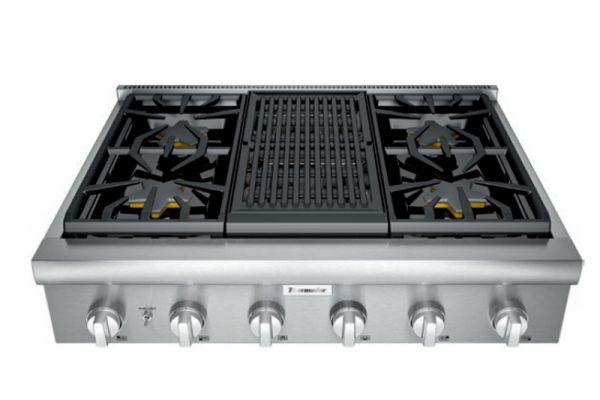 "Large image of Thermador 36"" Professional Series Stainless Steel Gas Rangetop With Grill - PCG364WL"