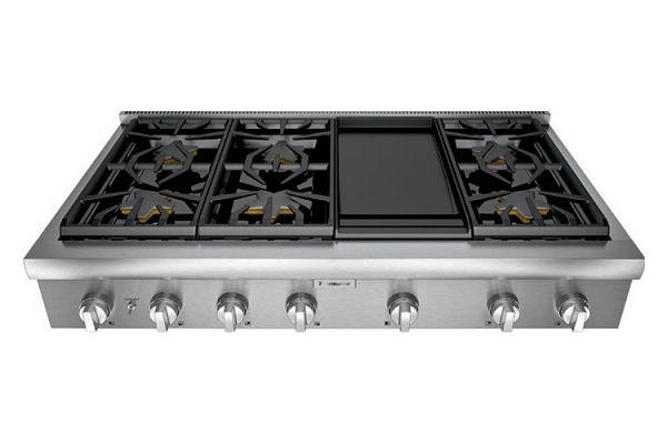 """Large image of Thermador 48"""" Professional Series Stainless Steel Gas Rangetop - PCG486WD"""
