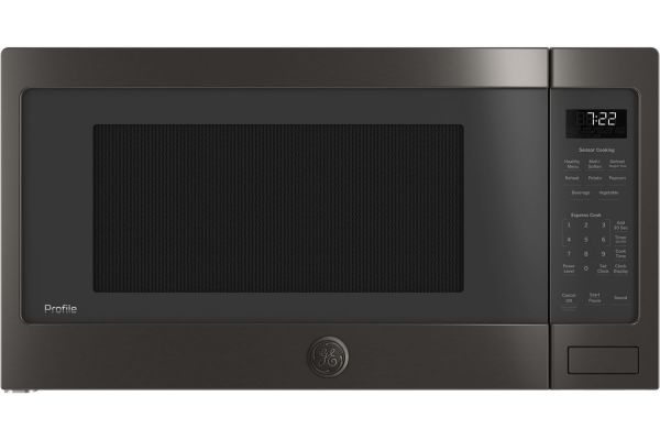 Large image of GE Profile Black Stainless Steel Countertop Microwave Oven - PES7227BLTS