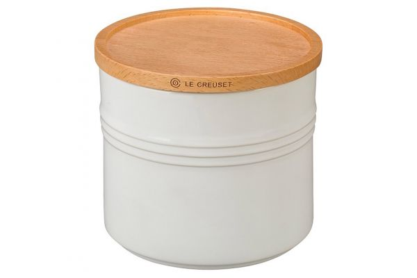 Large image of Le Creuset White 1.5 Qt. Stoneware Storage Canister - PG1518-1416