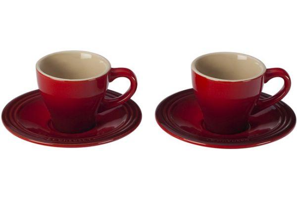 Le Creuset Cerise Stoneware Espresso Cups And Saucers - PG8001-0967