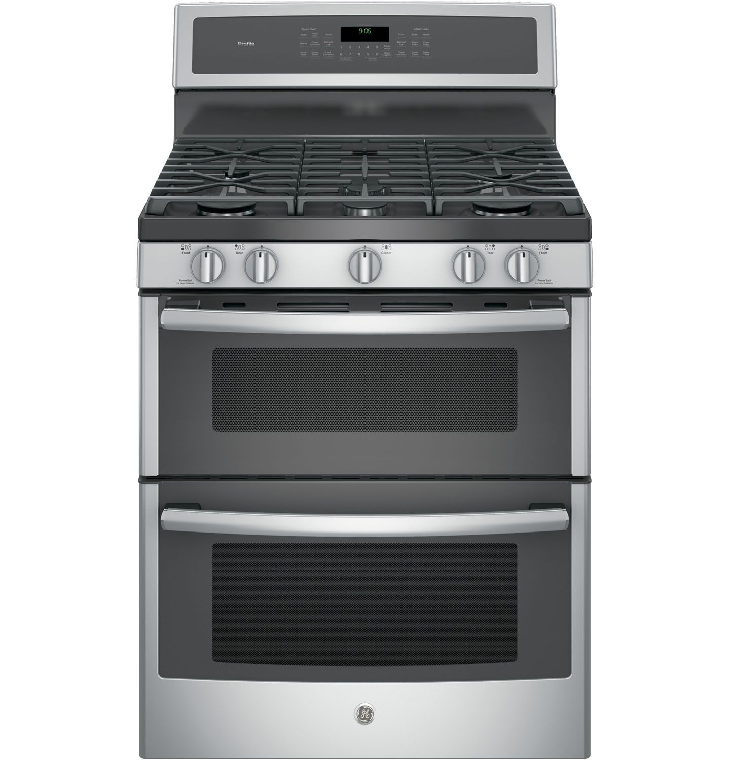 Ge profile 30 stainless double gas range pgb960sejss for Abt appliances