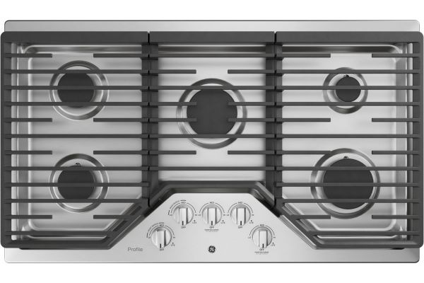 "Large image of GE Profile 36"" Stainless Steel Gas Cooktop - PGP7036SLSS"