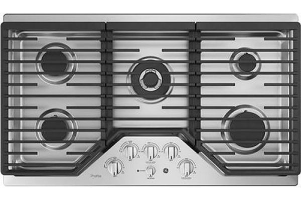 "Large image of GE Profile 36"" Stainless Steel Gas Cooktop - PGP9036SLSS"