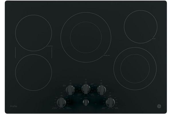 "Large image of GE Profile 30"" Black Electric Cooktop - PP7030DJBB"