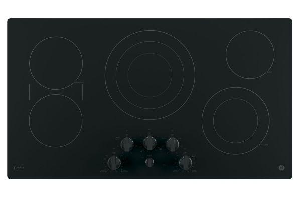 "Large image of GE Profile Series 36"" Black Electric Cooktop - PP7036DJBB"