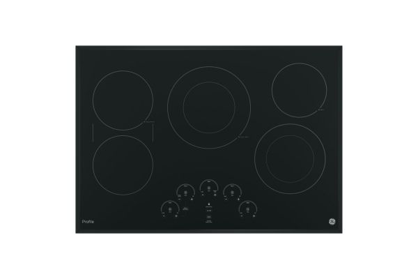 """Large image of GE Profile 30"""" Black Touch Control Electric Cooktop - PP9030DJBB"""