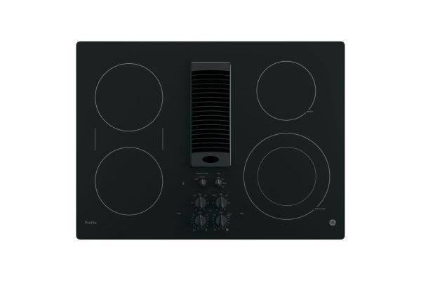 "GE Profile 30"" Black Electric Cooktop With Downdraft - PP9830DJBB"