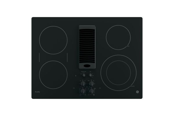 "Large image of GE Profile 30"" Black Electric Cooktop With Downdraft - PP9830DJBB"