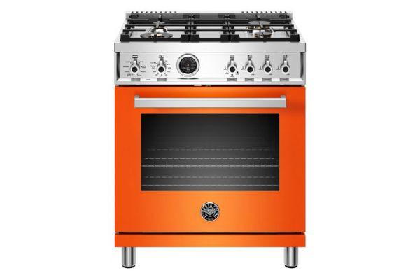 "Bertazzoni Professional Series 30"" Orange Dual Fuel Range - PROF304DFSART"